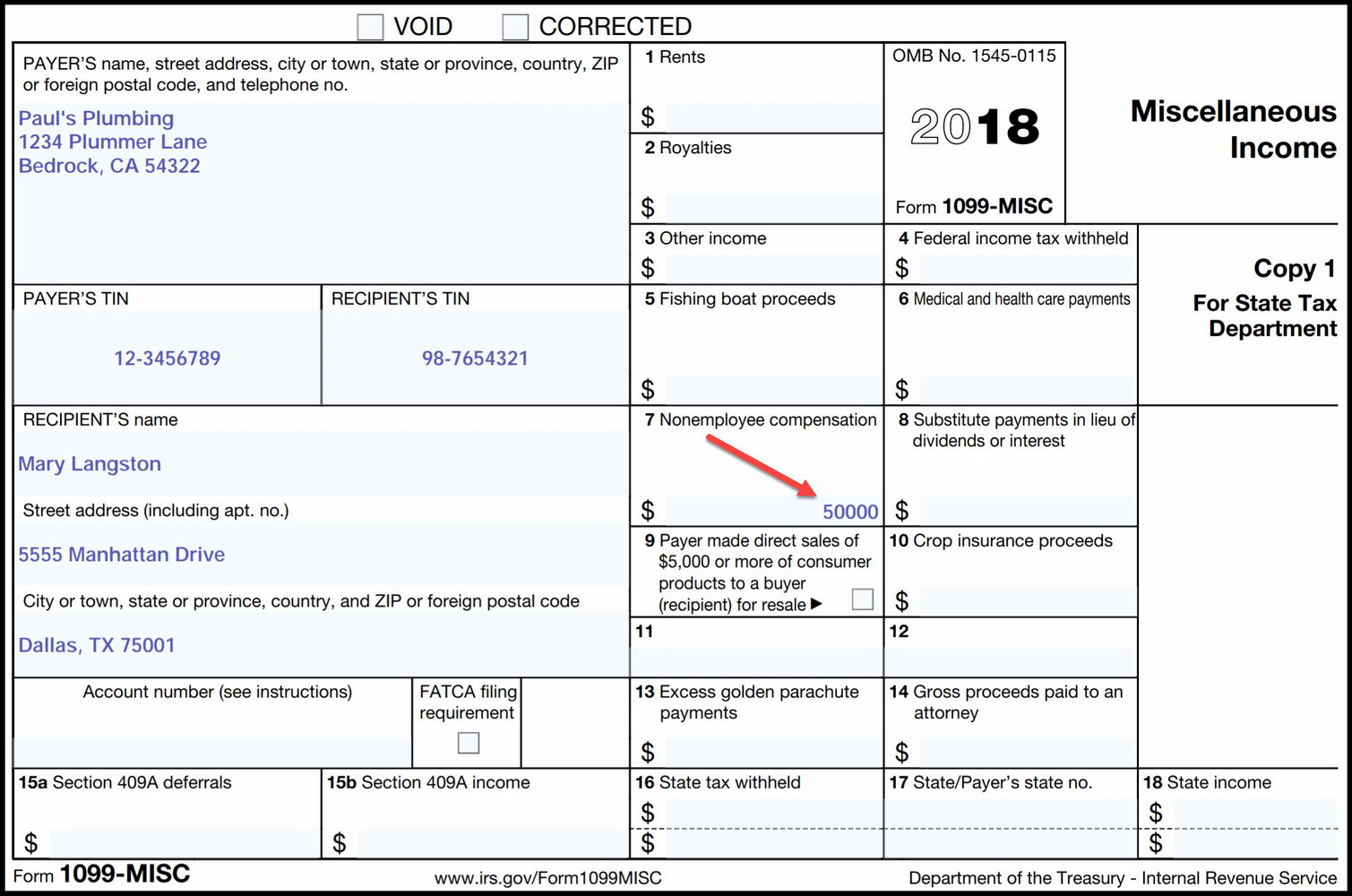 Microsoft Word 1099 Tax Form Printable Template