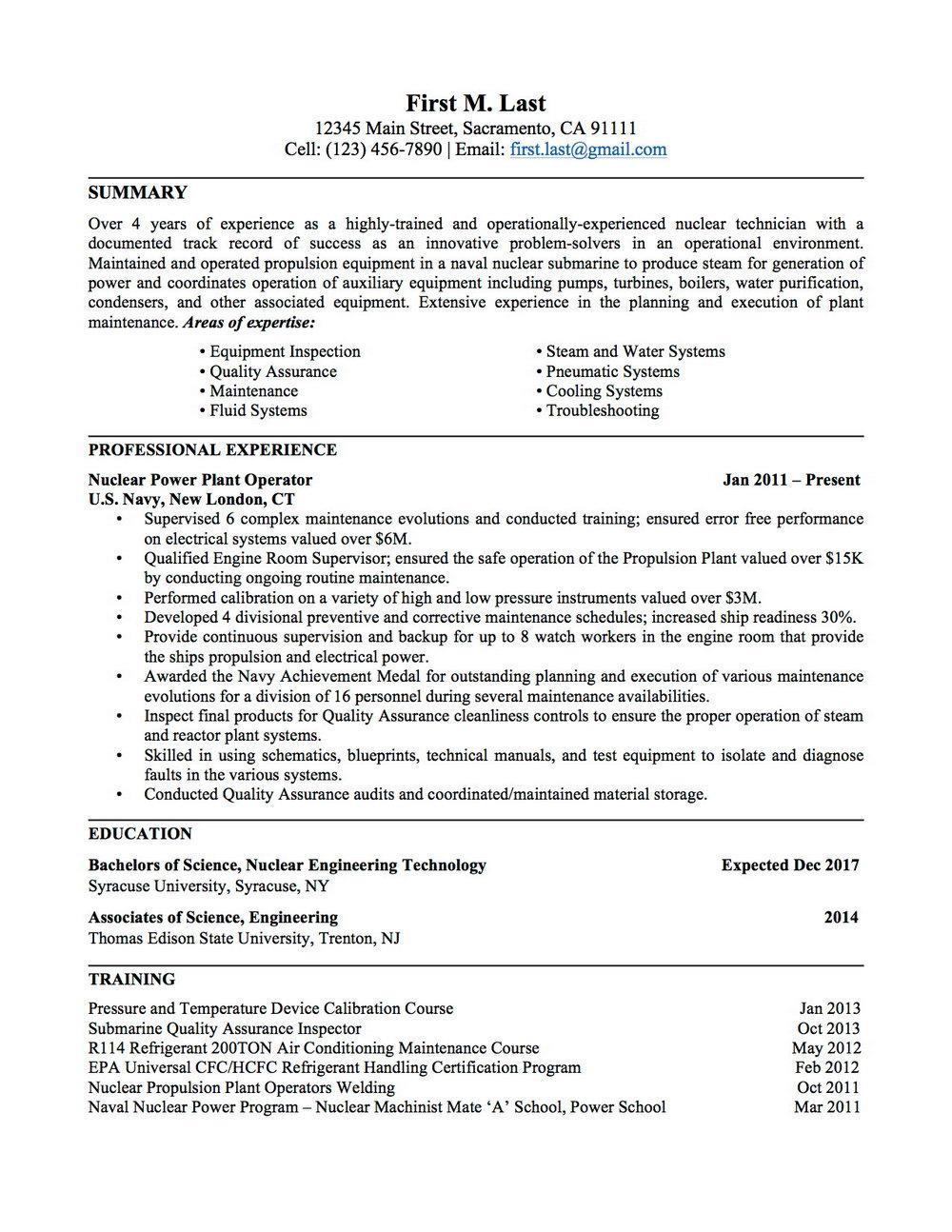 Military Resume For Civilian Job