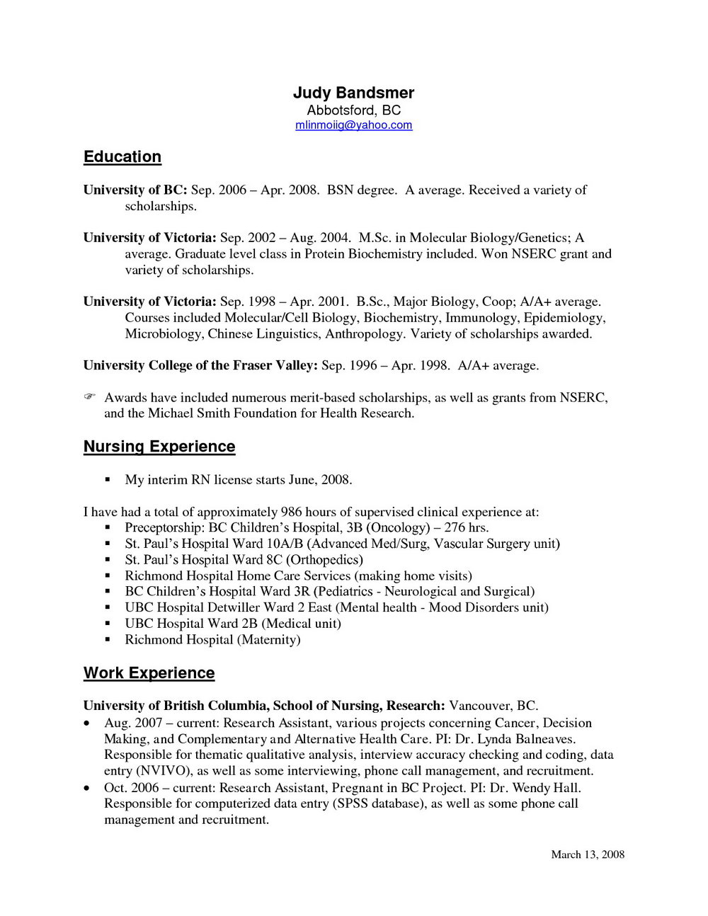 Oncology Registered Nurse Resume Sample