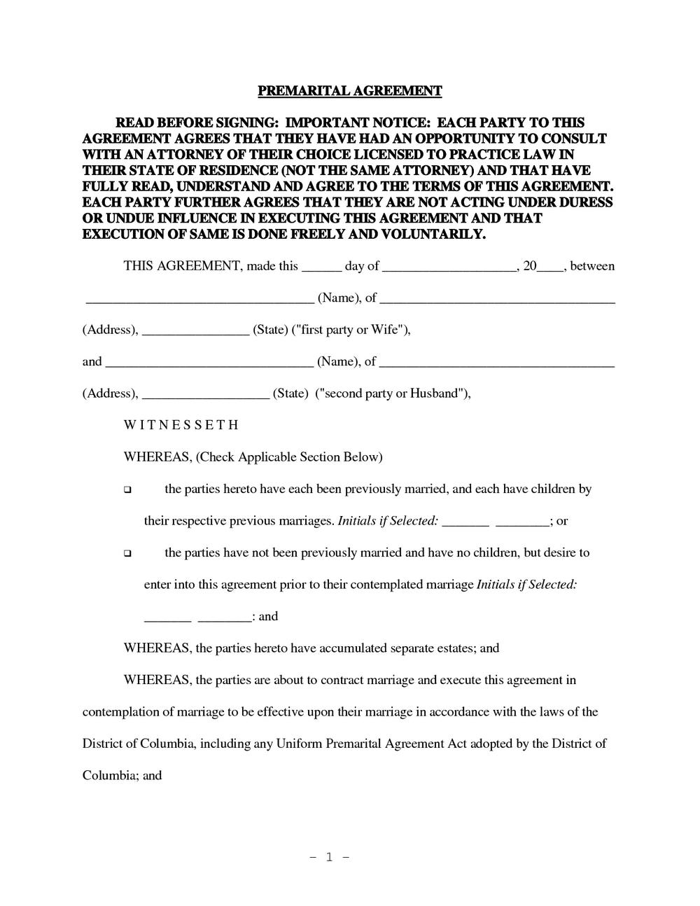 Prenuptial Agreement Form California Free Download