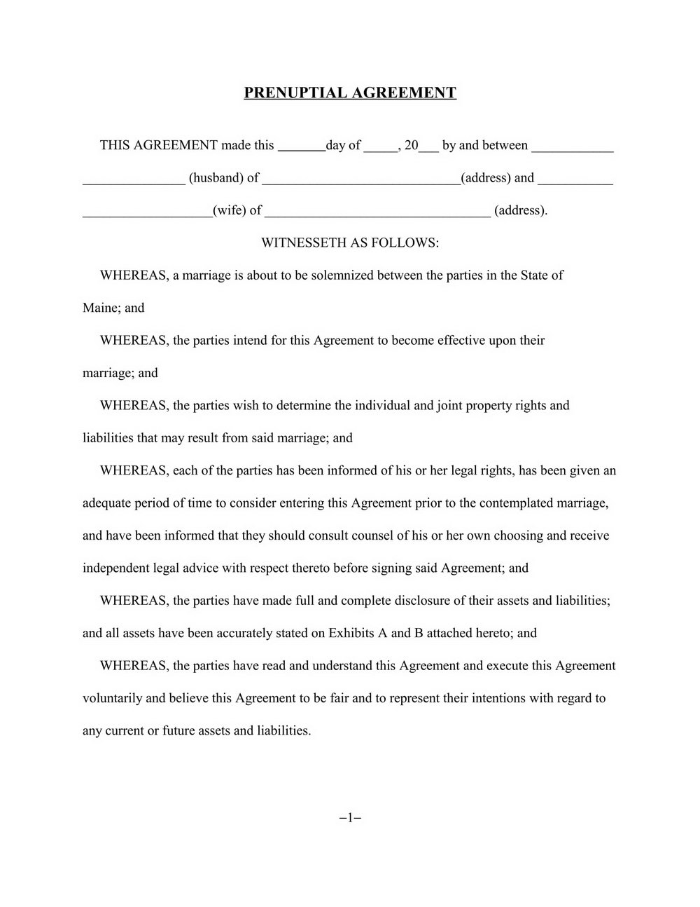 Prenuptial Agreement Form Washington State