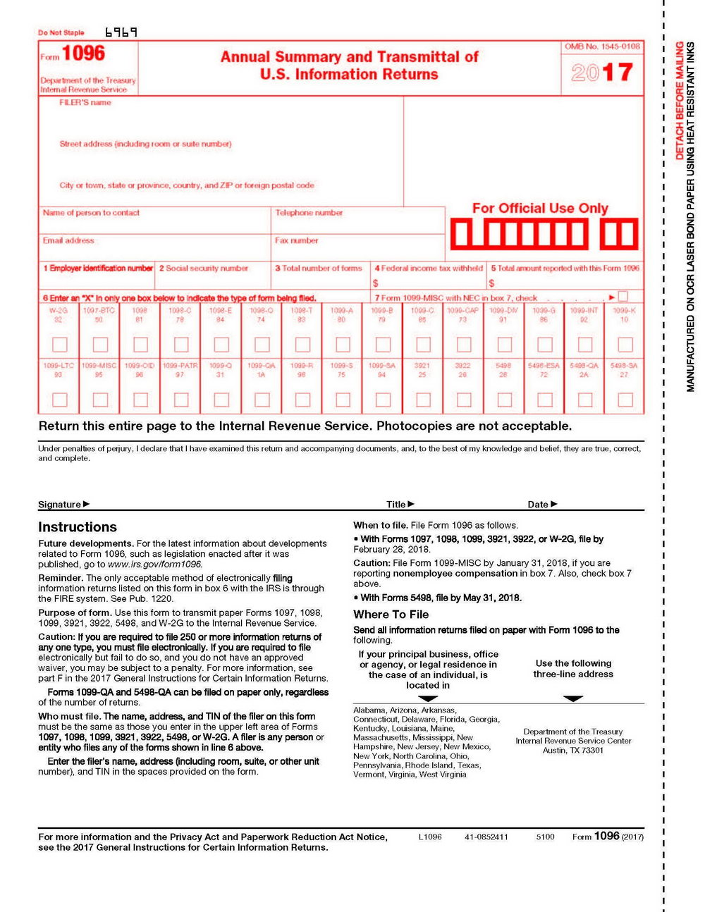 Printable 1099 Form 2017 Copy B
