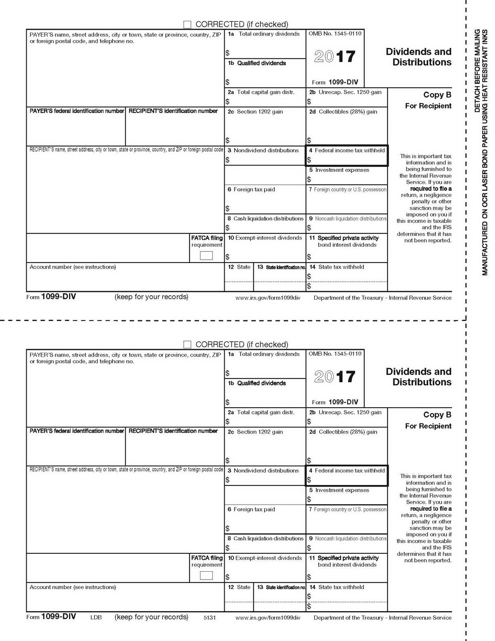 Printable 1099 Form 2017 Fillable