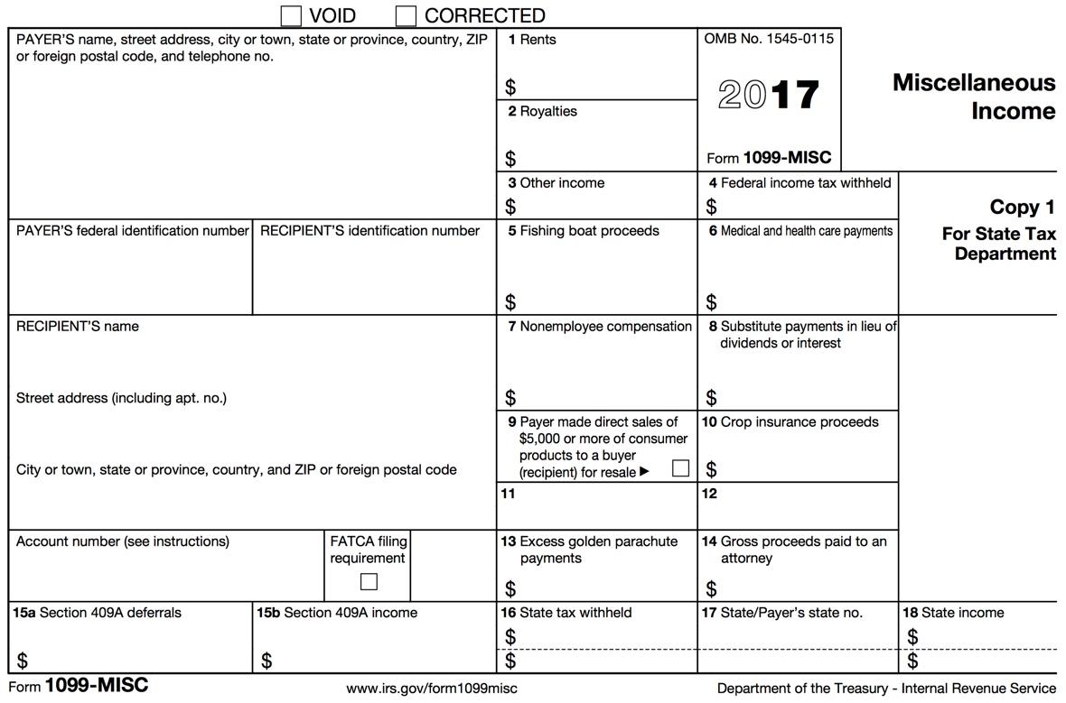 Printable 1099 Form 2017 Pdf