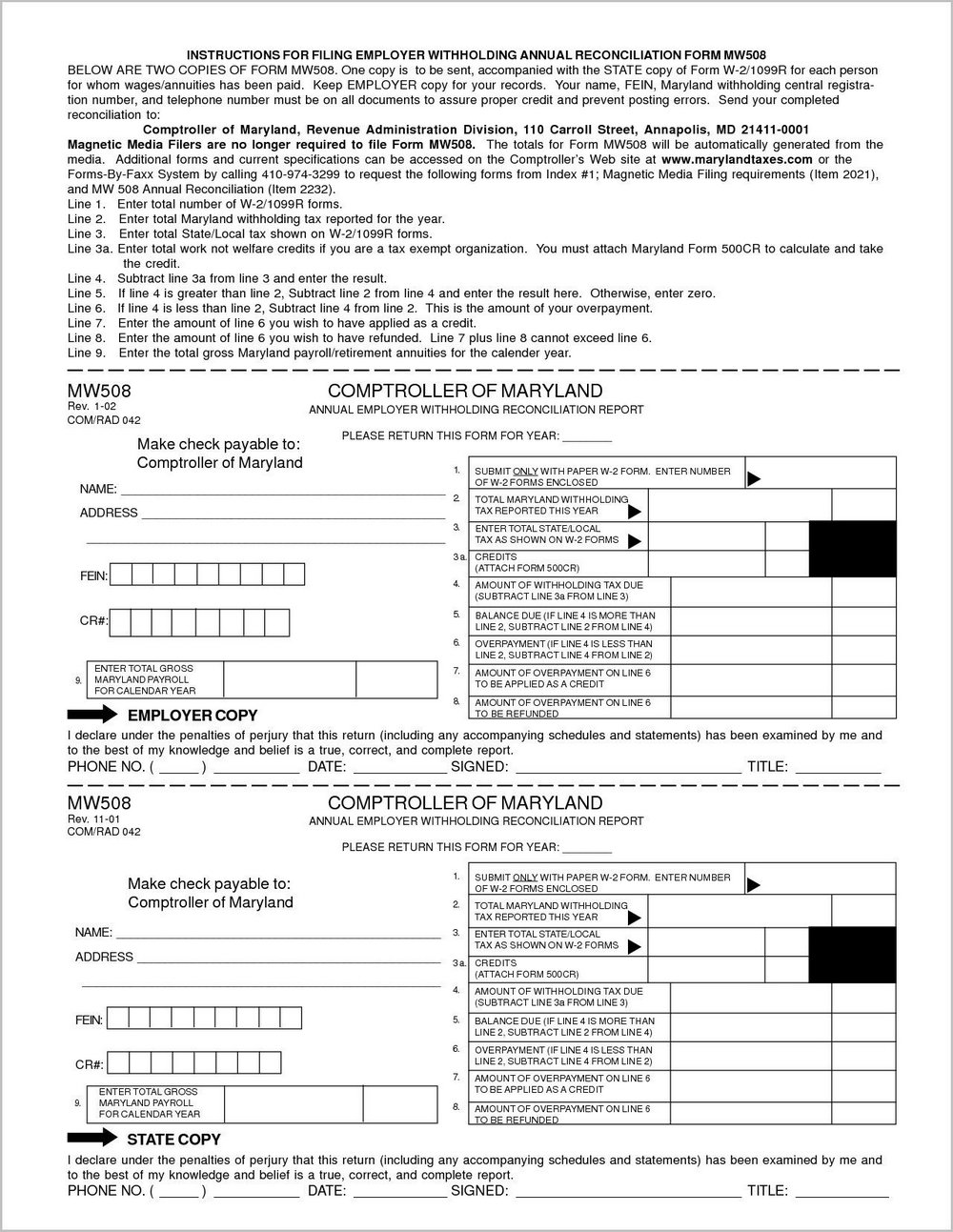 Printable Tax Forms For Employees To Fill Out
