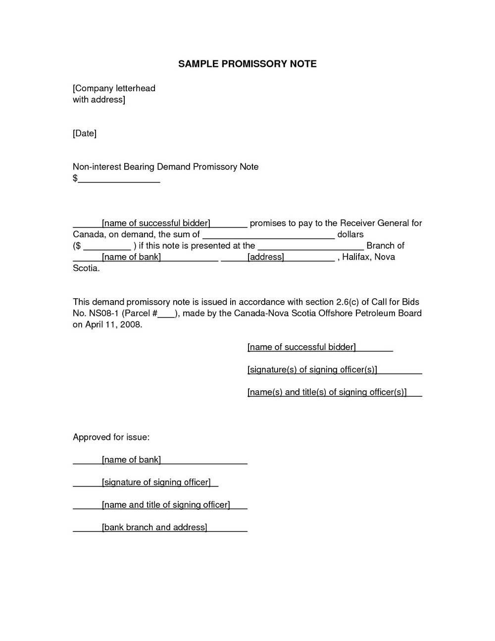 Promissory Note Format For School