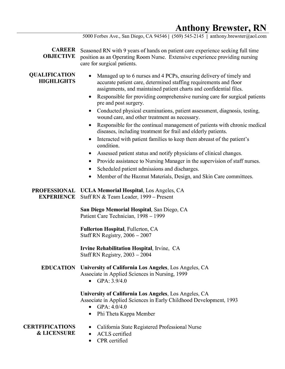 Registered Nurse Objective Sample