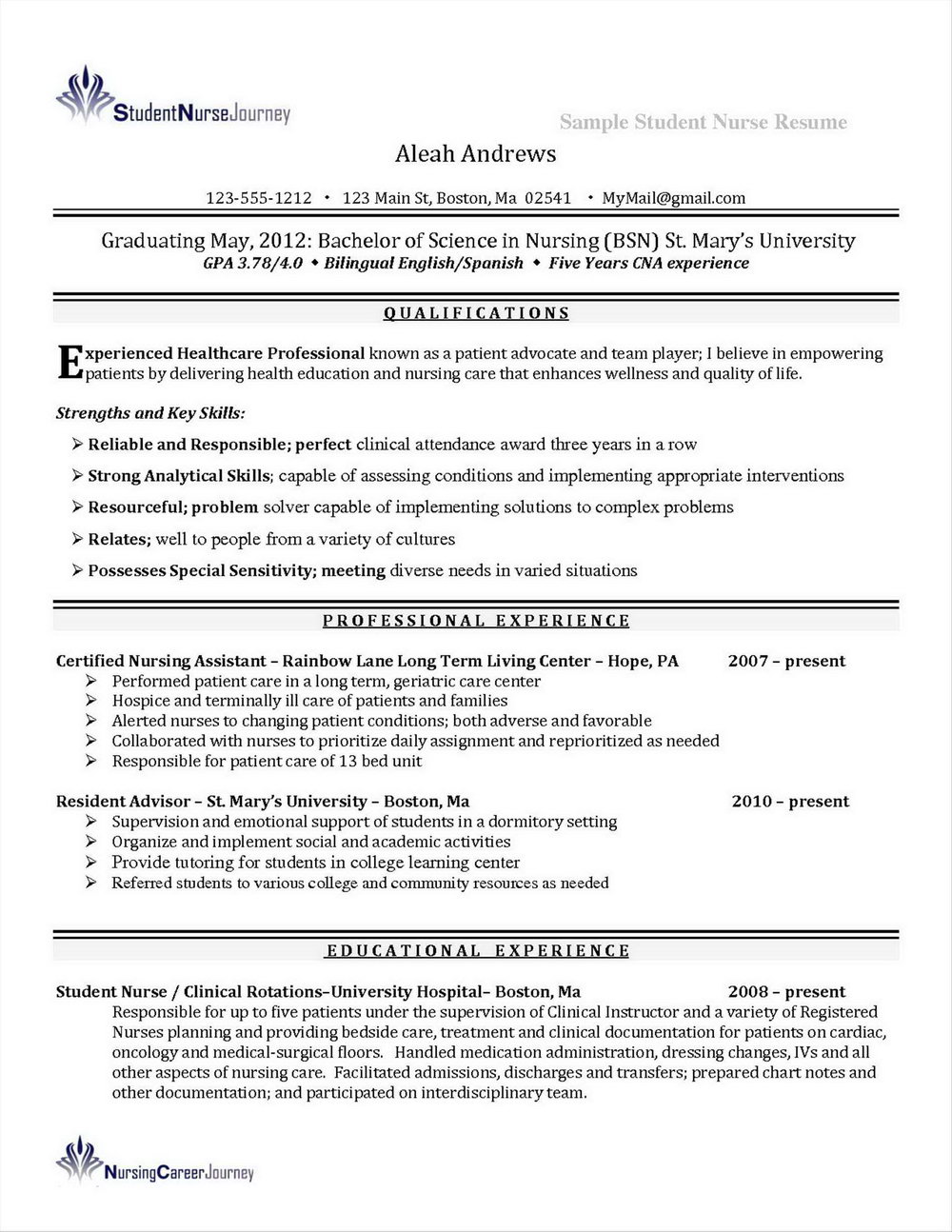 Registered Nurse Resume Sample Format Pdf