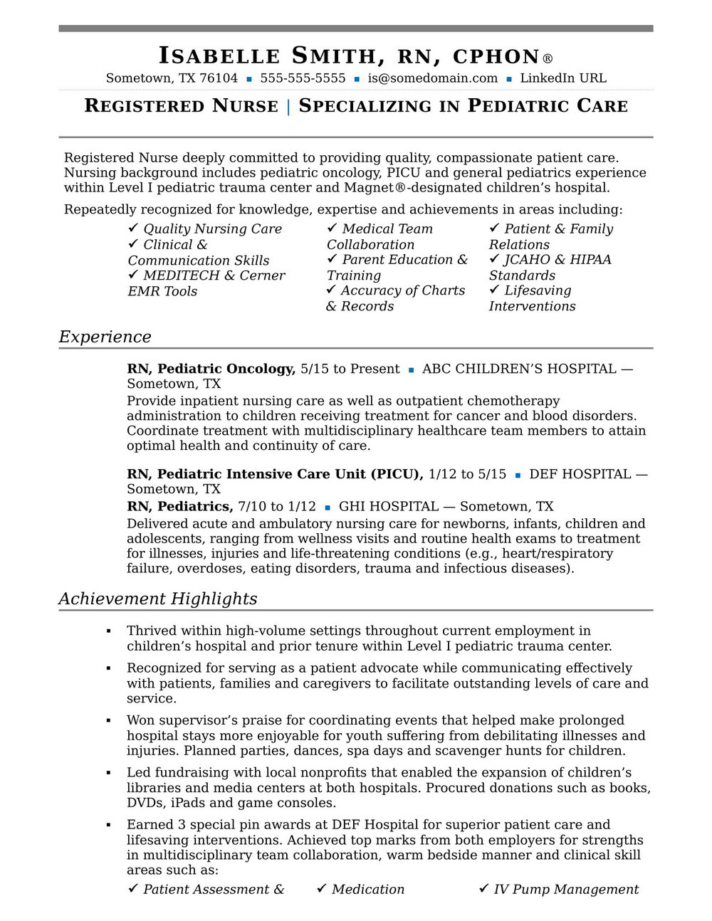 Registered Nurse Resume Sample Pdf