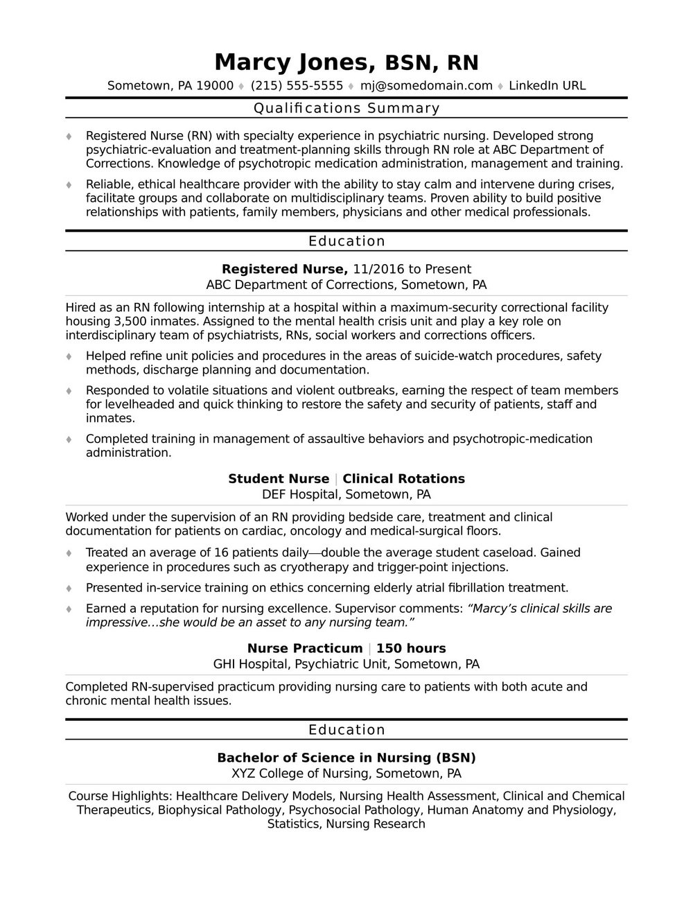 Registered Nurse Resume Samples