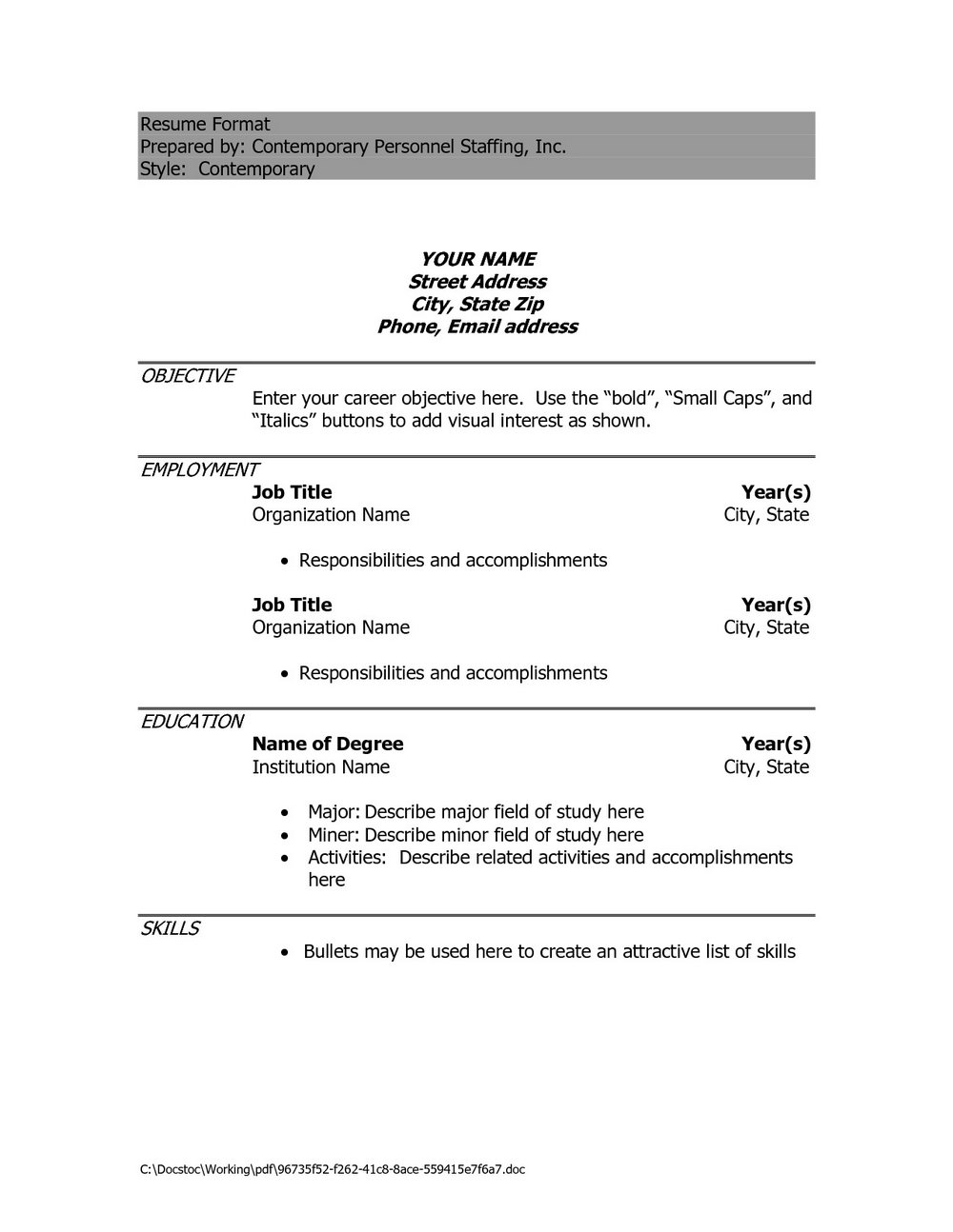 Resume Format Download Pdf Editor