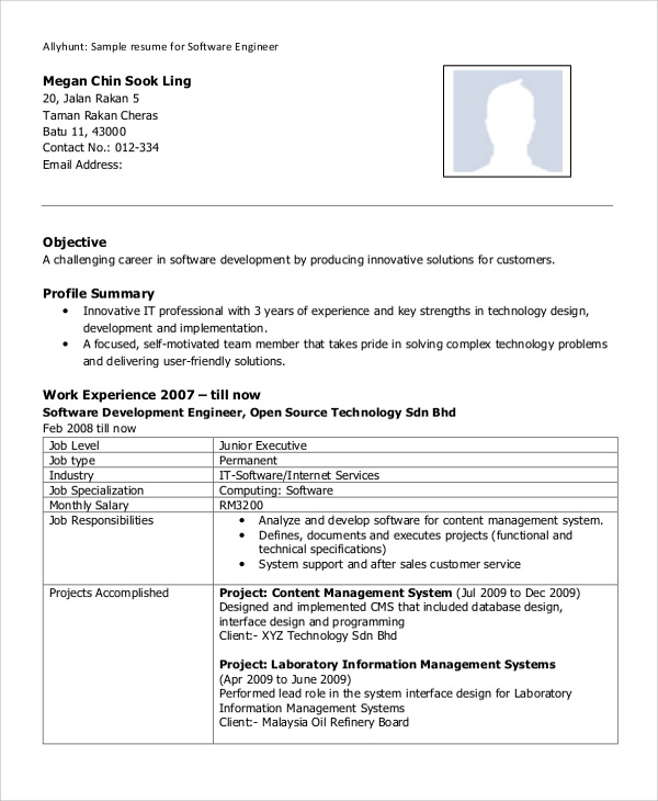 Resume Format For Experienced Engineers Free Download