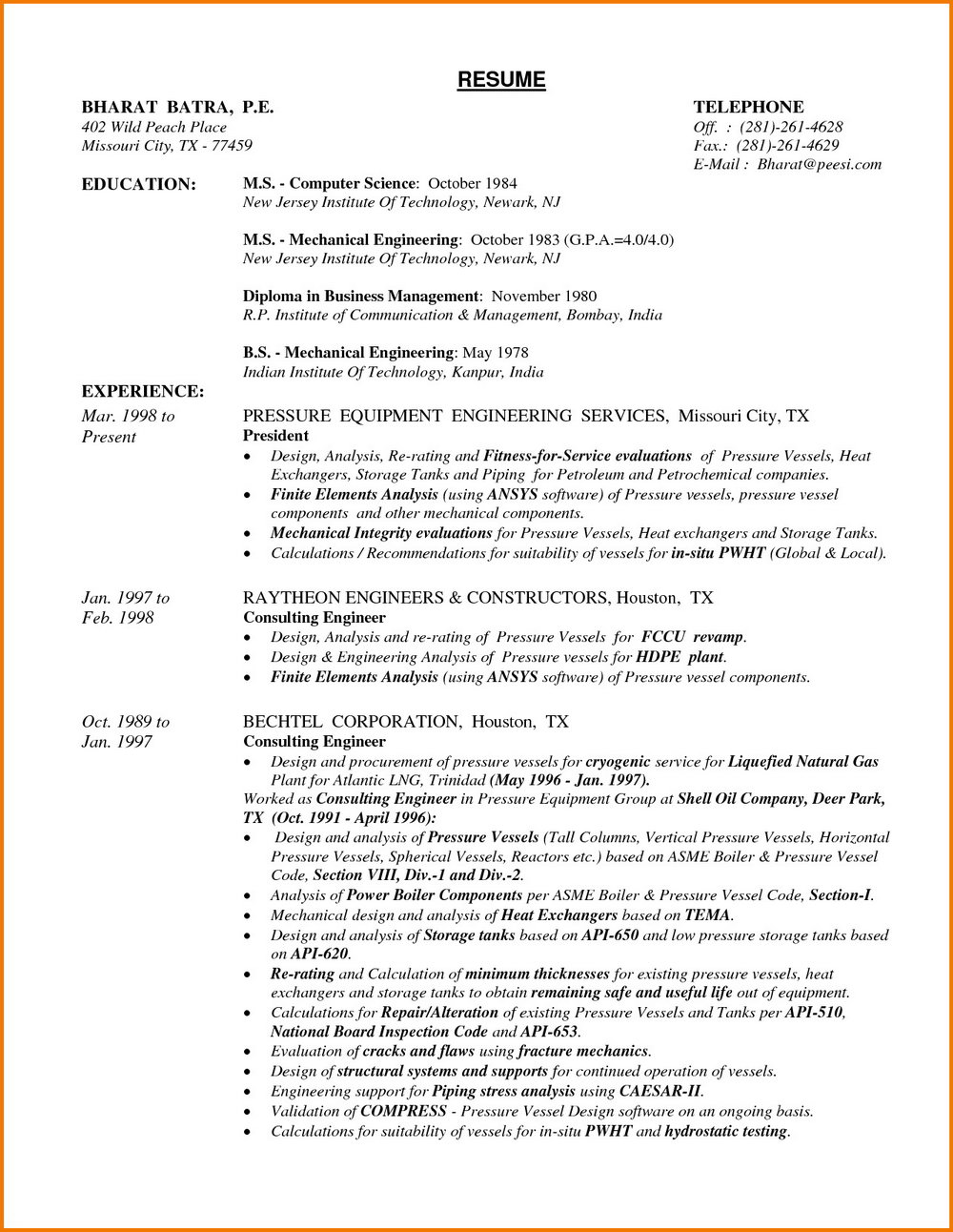 Resume Format For Experienced Mechanical Engineers Pdf Free Download