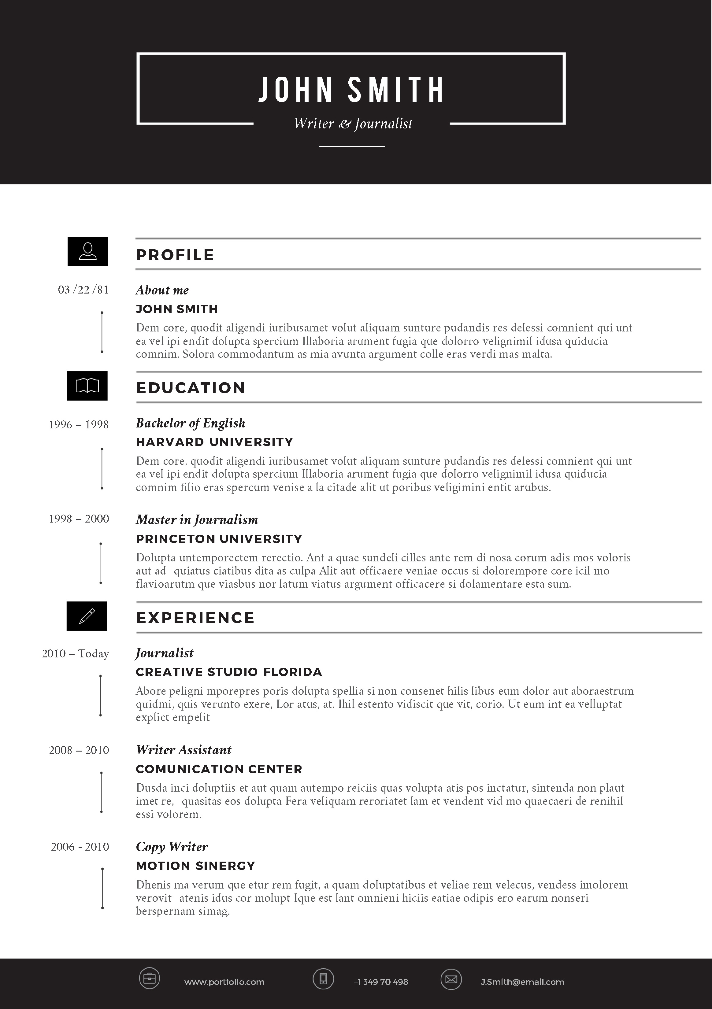 Resume Layout On Microsoft Word