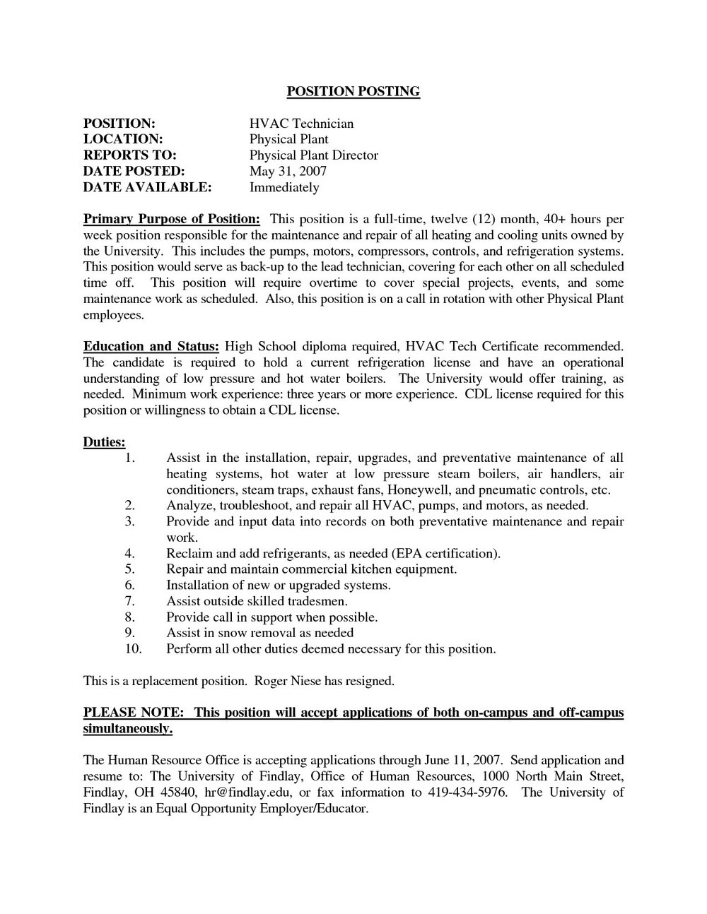 Resume Objective For Air Conditioning Technician