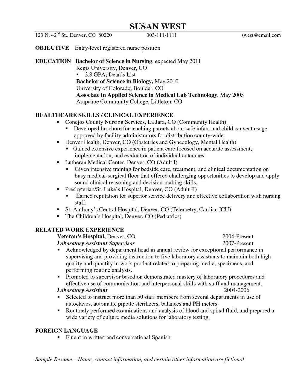 Resume Objective For Rn Position