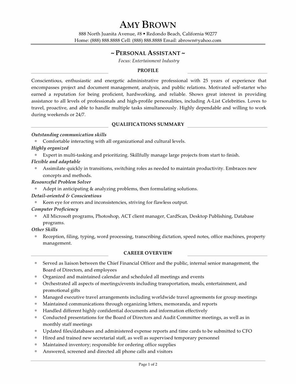 Resume Samples For Fitness Professionals
