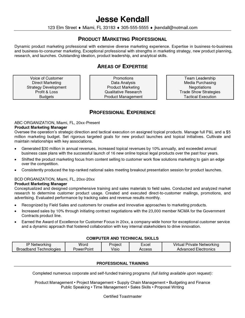 Resume Samples For Marketing Professionals