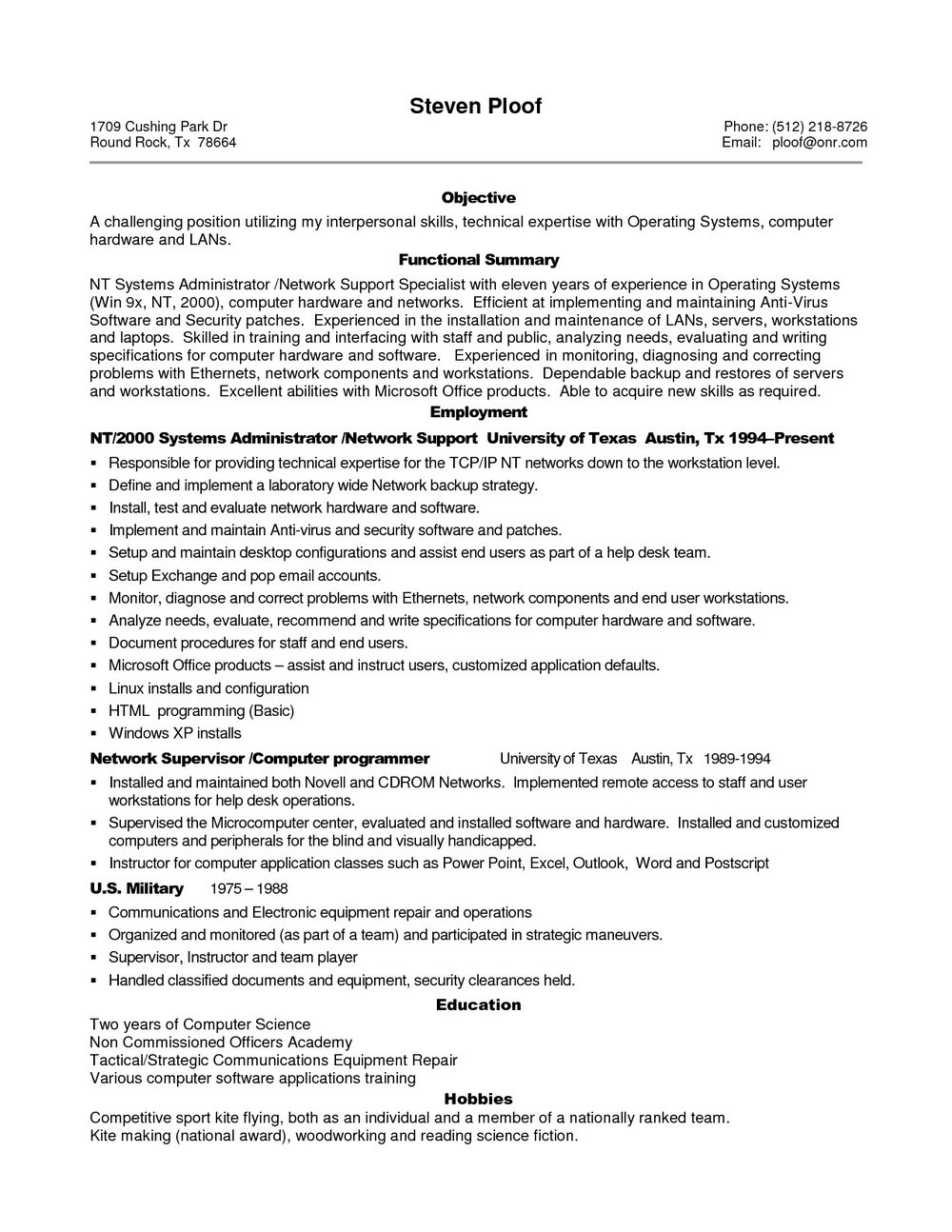 Resume Samples For Testing Professionals