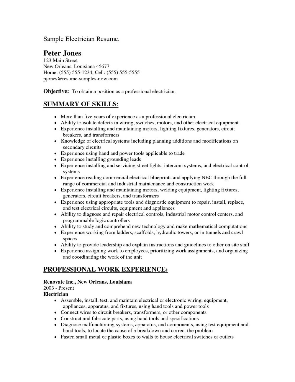 Resume Templates For Electricians Apprentice