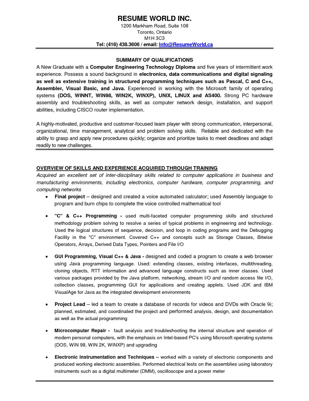 Resume Templates For Experienced Testing Professionals