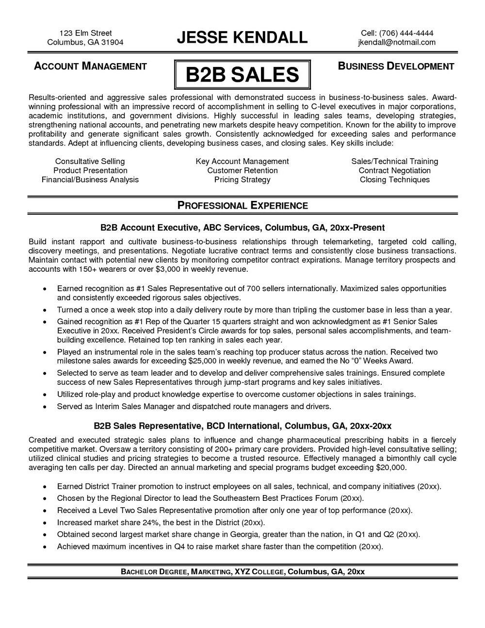 Resume Templates For Salesman