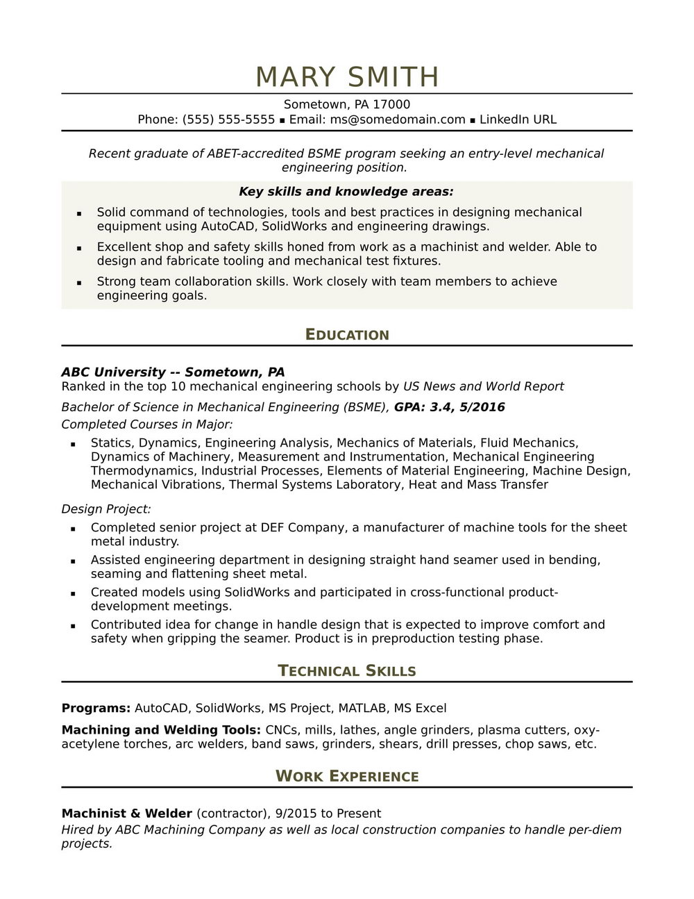 Sample Of Resume For Engineering Jobs