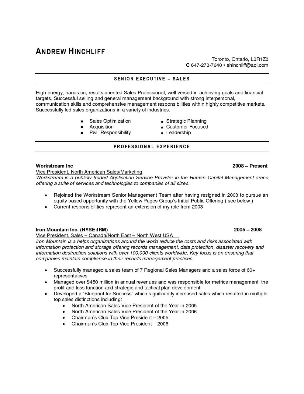 Sample Resume For Jobs In Canada