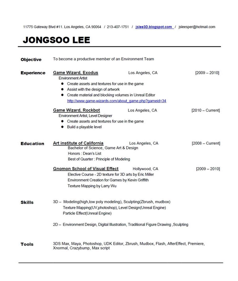 Sample Resume Format Doc Download