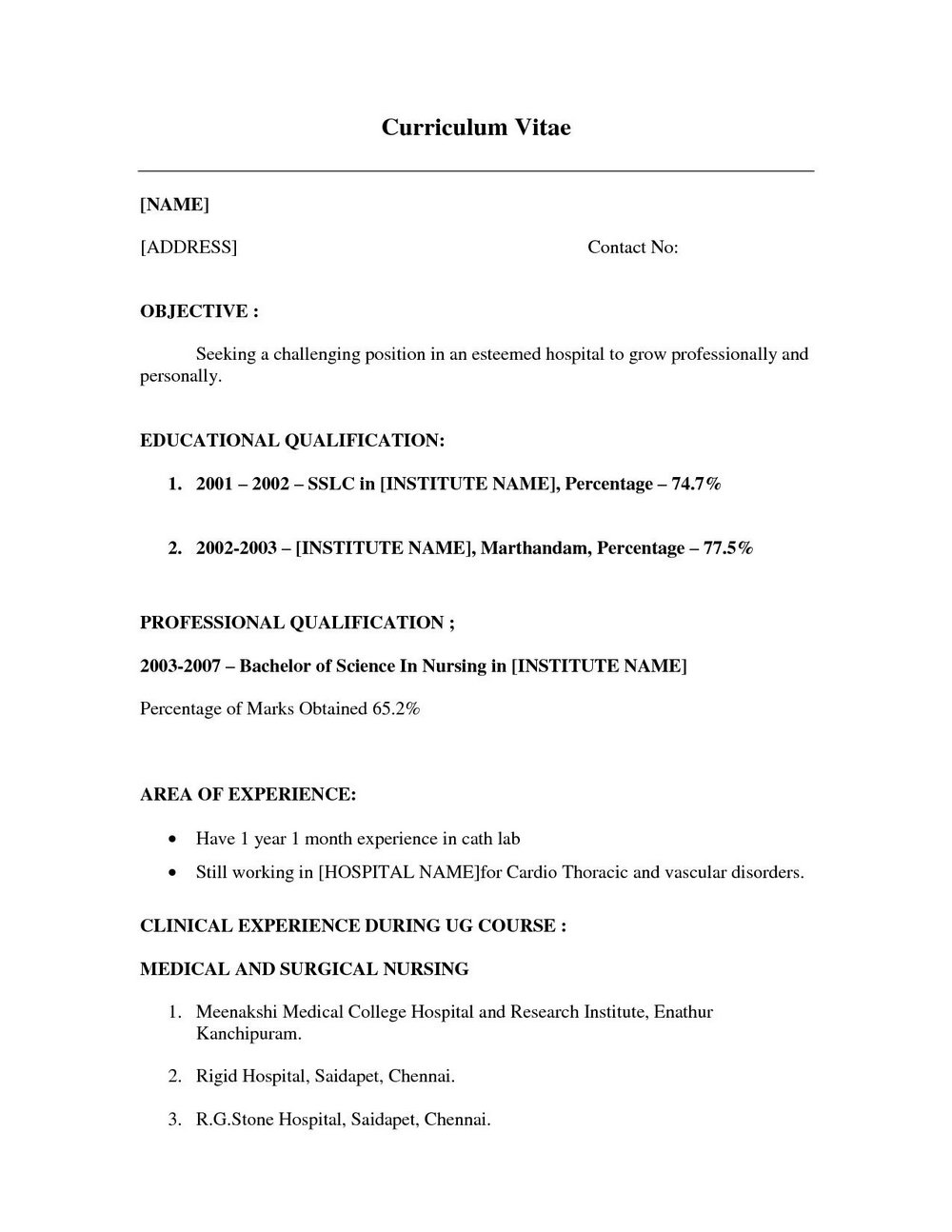 Sample Resume Format Download For Freshers