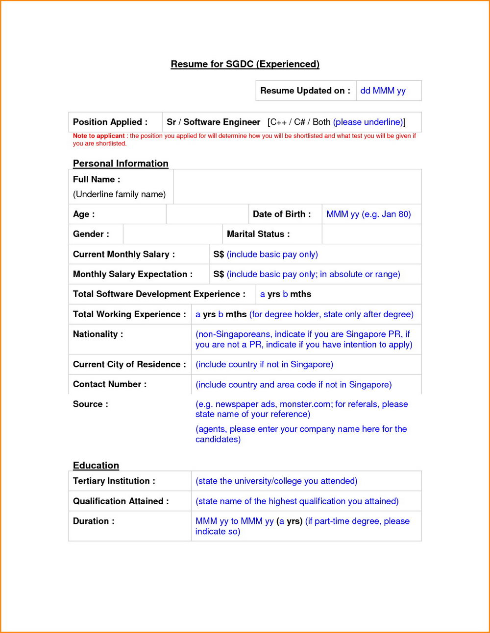 Sample Resume Format For Experienced Download