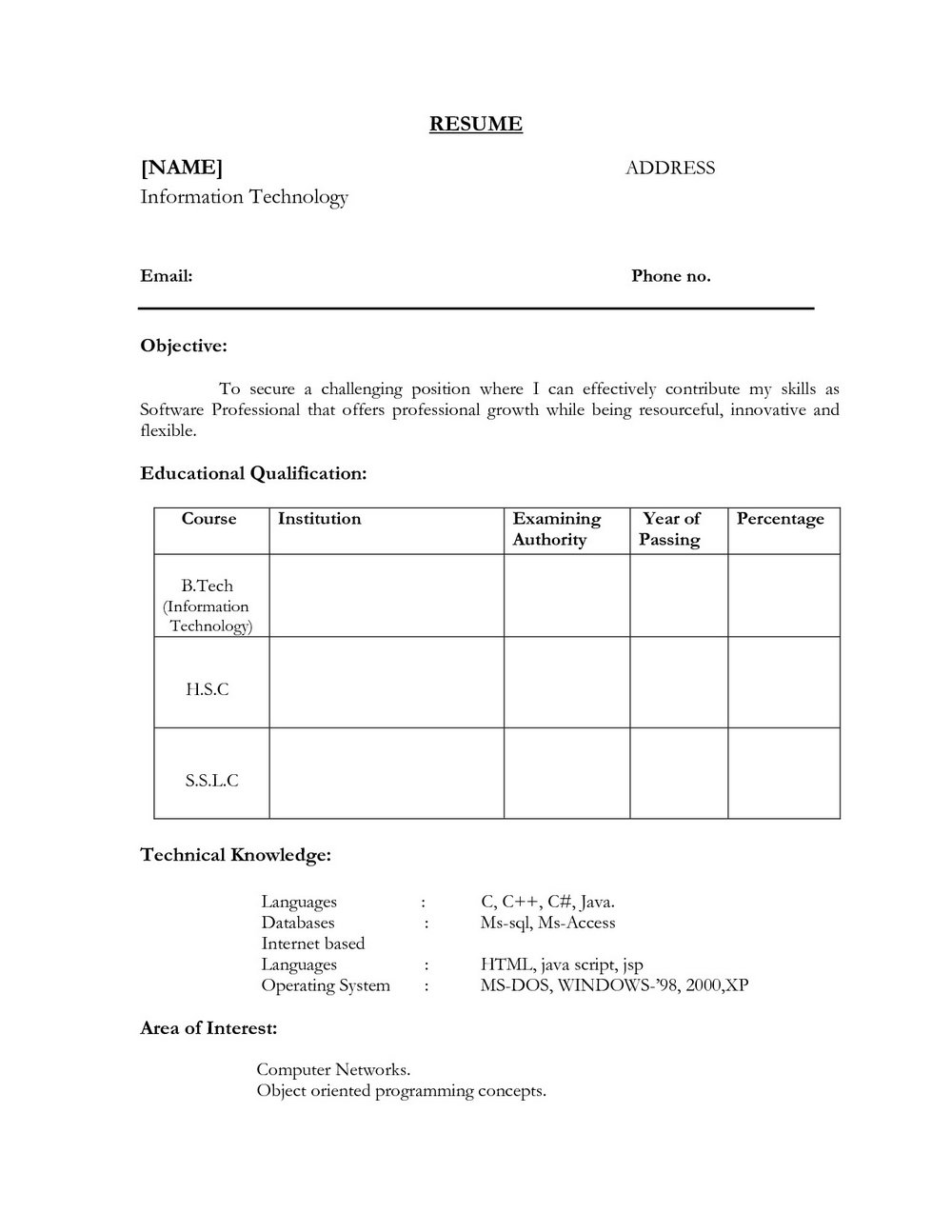 Sample Resume Format For Freshers Download Free