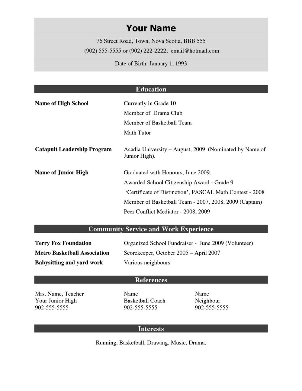 Simple Html Resume Templates Free Download