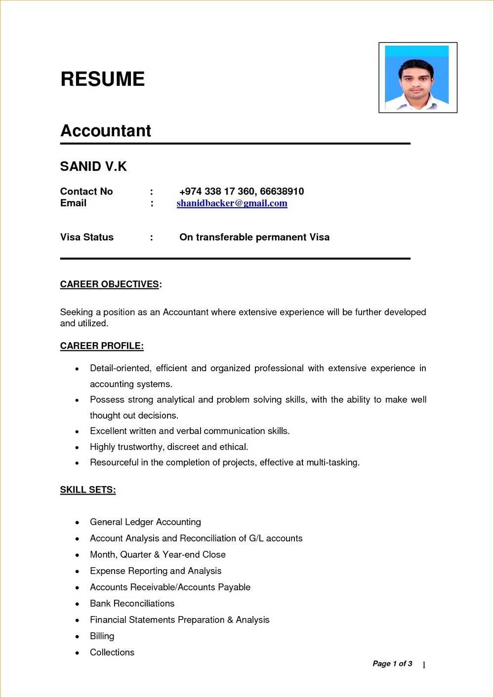 Simple Resume Format Download Doc
