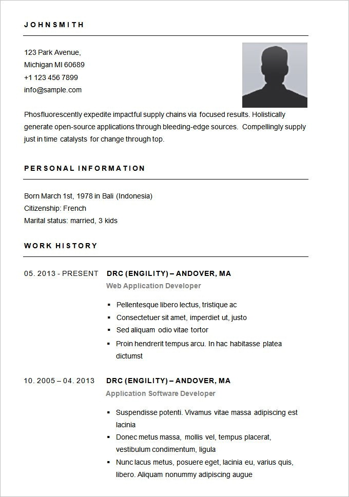 Simple Resume Format Download For Job