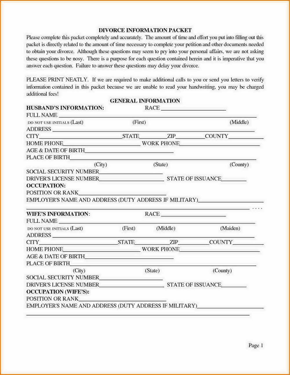 Texas Divorce Forms Free Download