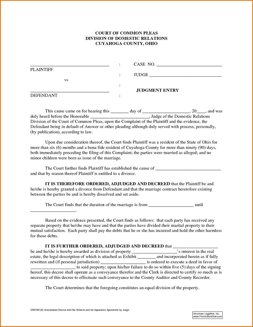 Texas Divorce Forms Set A