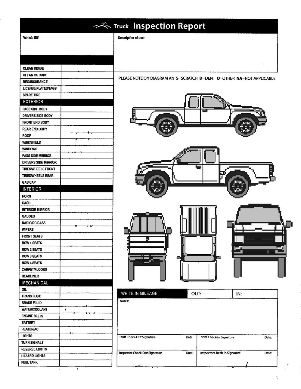 Vehicle Inspection Form Template Word