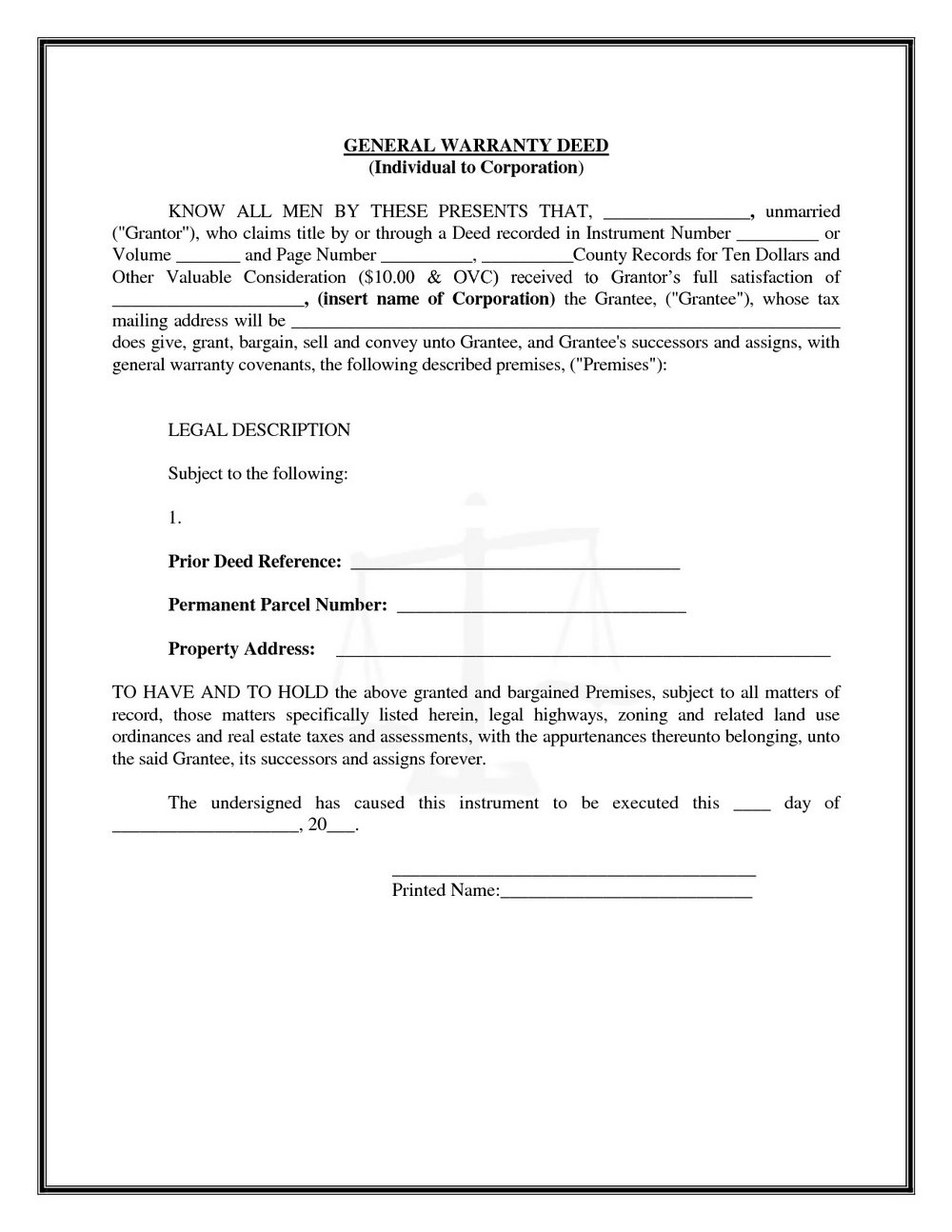 Warranty Deed Form Alabama