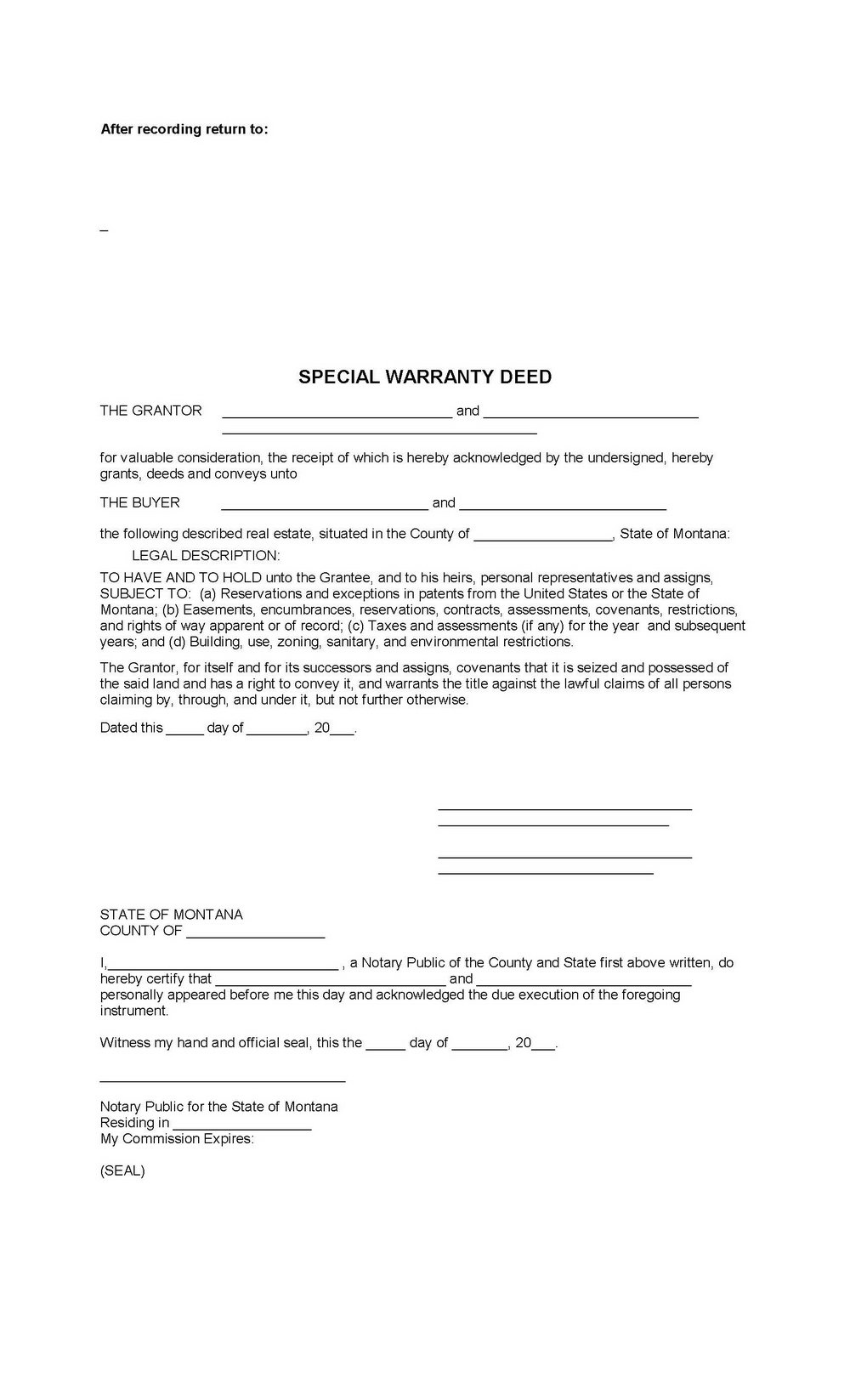 Warranty Deed Form Arizona