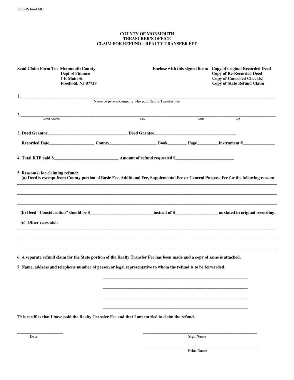 Warranty Deed Form Free