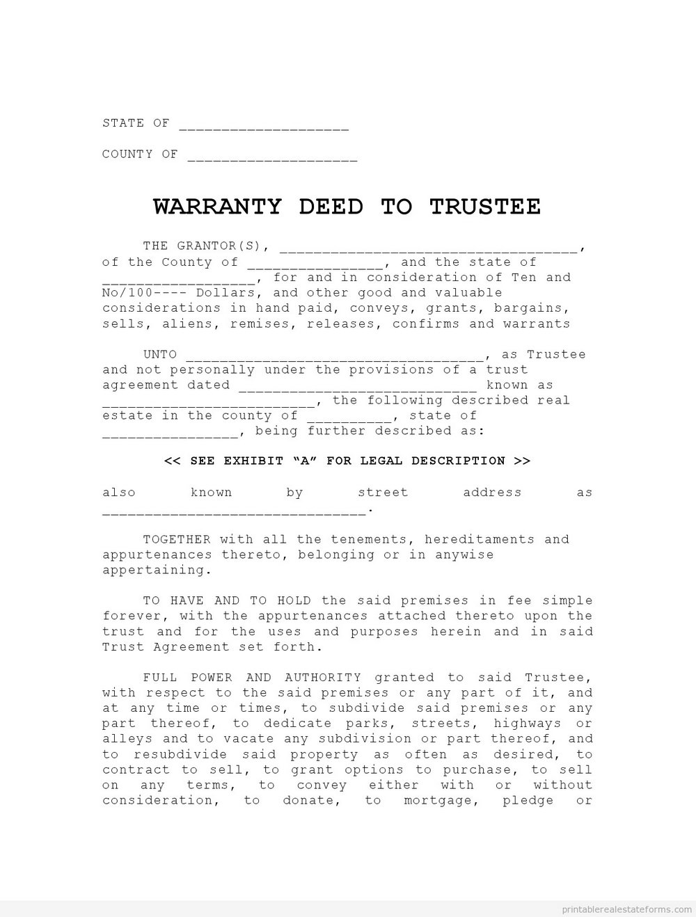 Warranty Deed Form Illinois