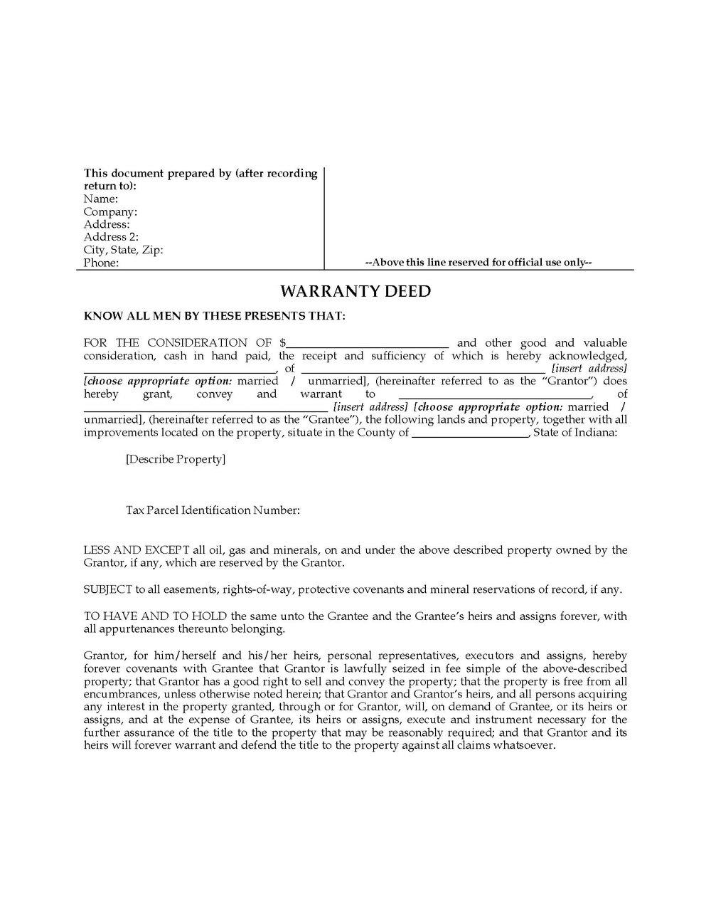 Warranty Deed Form North Carolina