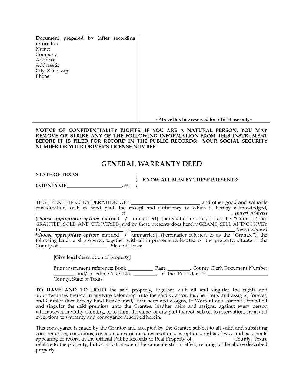 Warranty Deed Form Pdf
