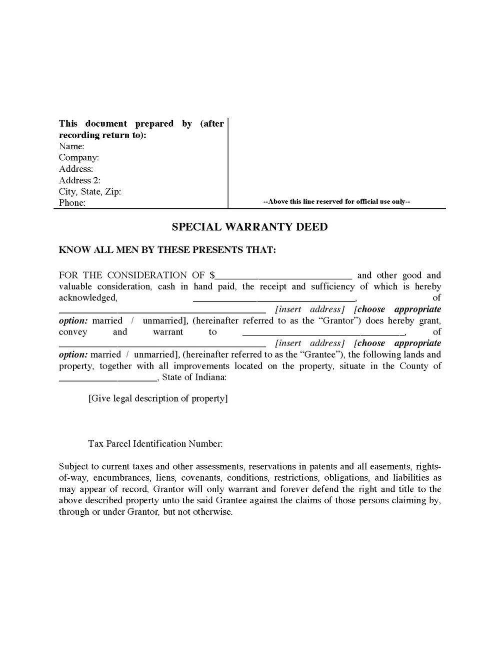 Warranty Deed Form Virginia