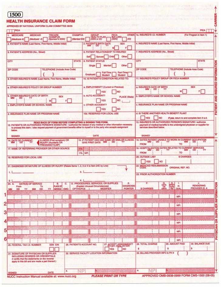Cms 1500 Form Pdf Fillable Free
