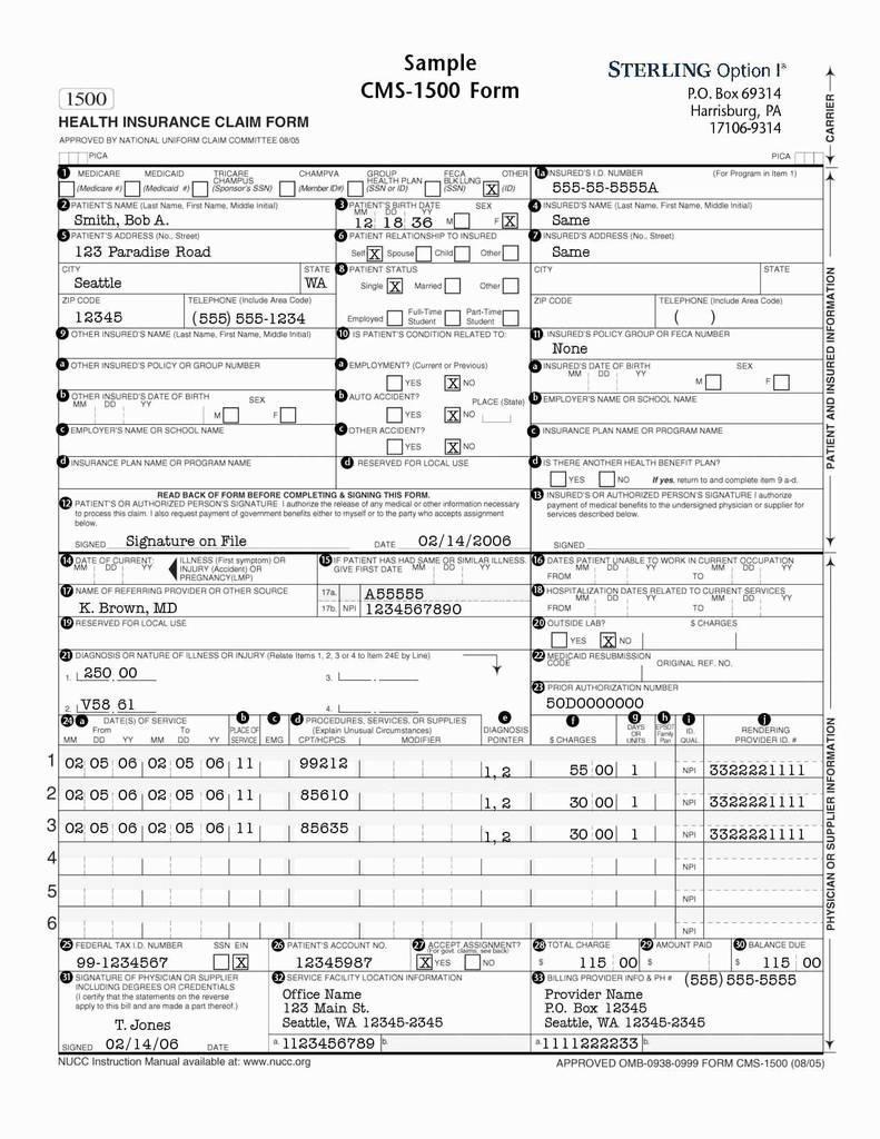 Cms Hcfa 1500 Form Pdf
