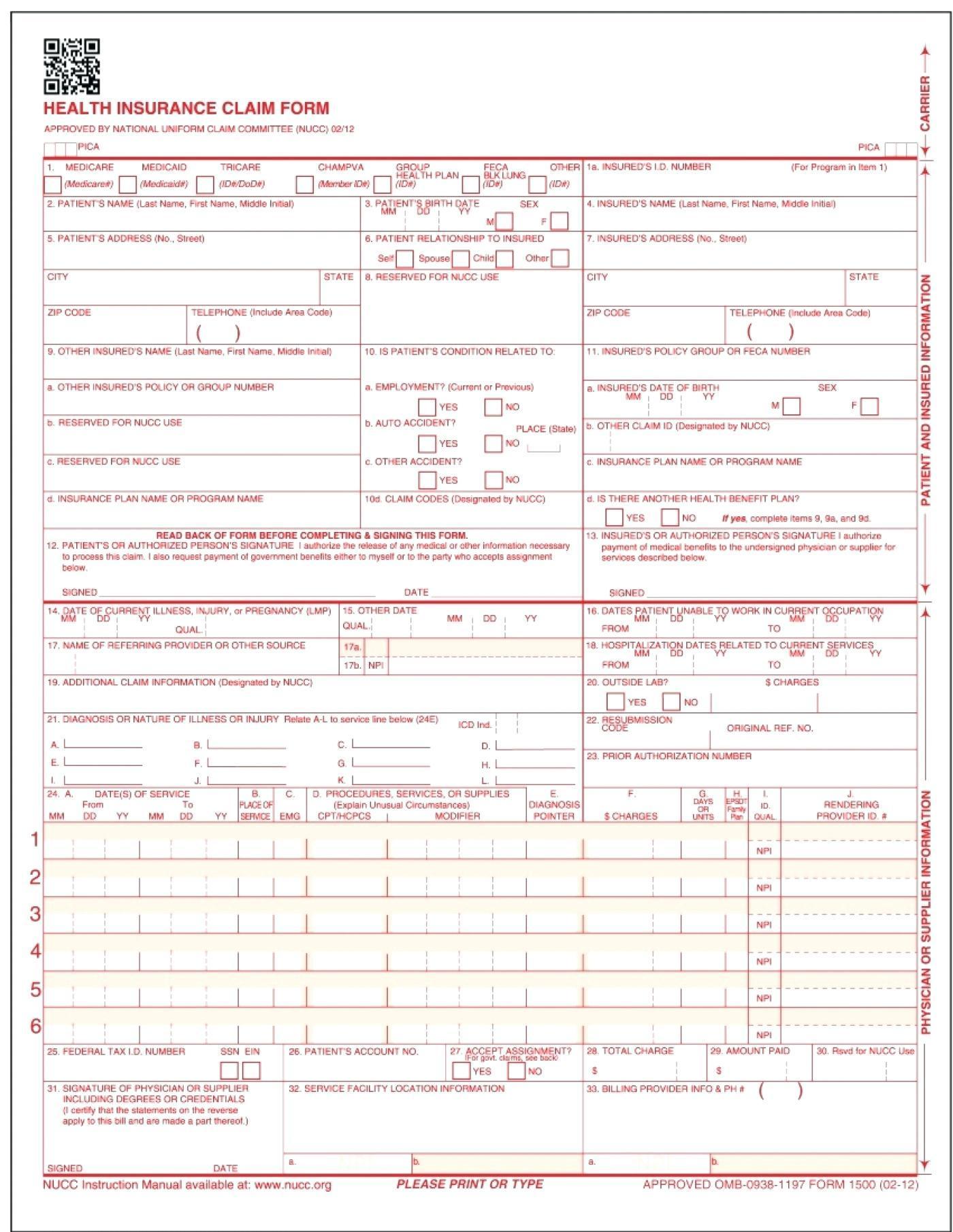 New Cms 1500 Form Pdf