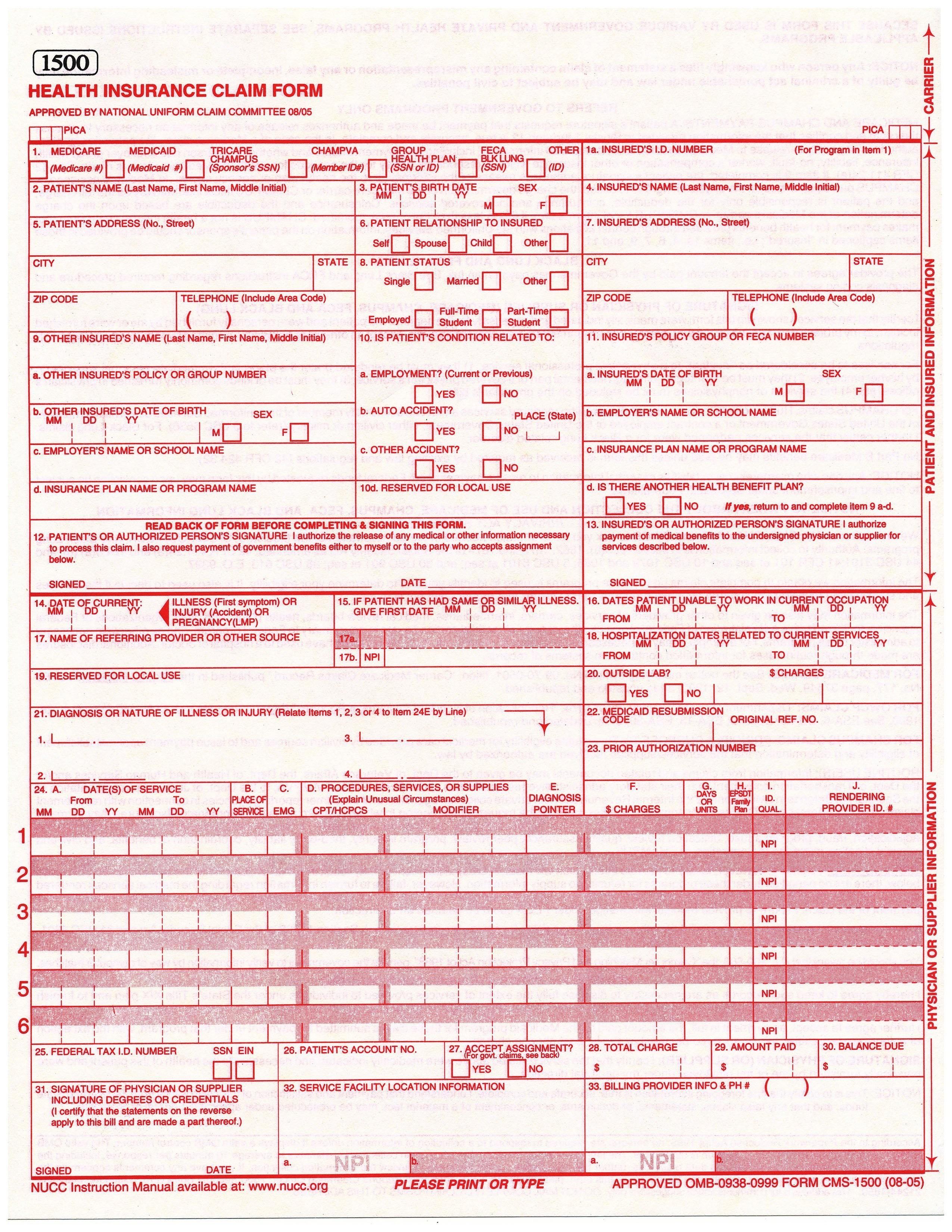Sample Cms 1500 Form Pdf