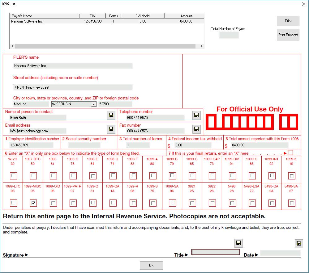 1096 Tax Form Software